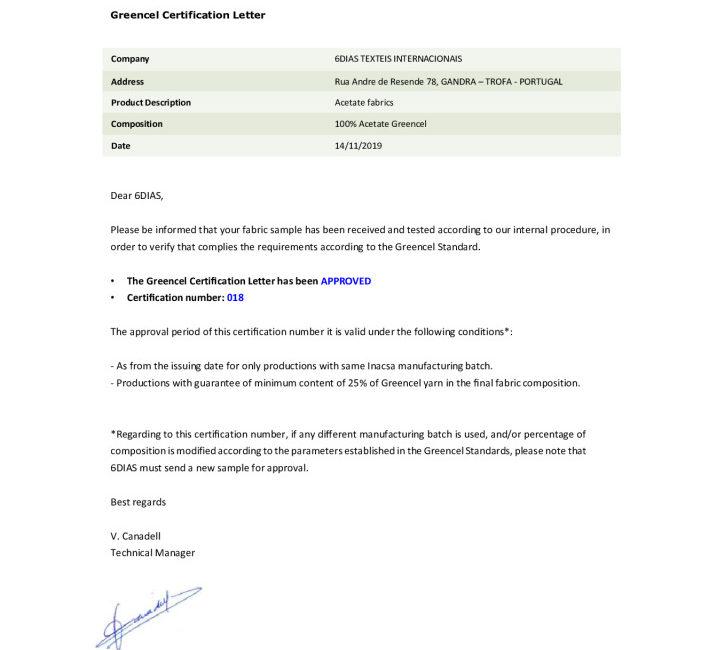 miniatura de Greencel Certification Letter 018 6Dias
