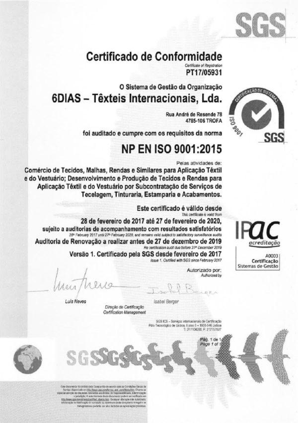 SGS – Certificado de Conformidade